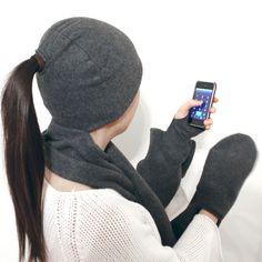 Picture of 4-in-1 Hat, Scarf, Fingerless Gloves & Mitten Pocket Combo!