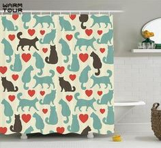 Ambesonne Cat Lover Decor Collection, Pattern with Hearts Happy Walking Shape Kitty Domestic Animal Silhouette, Polyester Fabric Bathroom Shower Curtain Set with Hooks, Turquoise Red Brown ** Read more at the image link. (This is an affiliate link) Bathroom Shower Curtain Sets, Bathroom Decor Sets, Bathroom Curtains, Fabric Shower Curtains, Cat Lover Gifts, Cat Gifts, Cat Lovers, Cat Bath, Fabric Animals