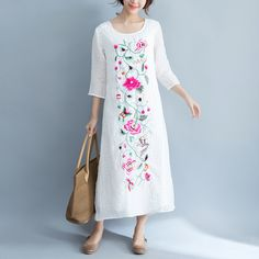 Eddie linen embroidered robe floral dress  #linen #OnePiece #loosepants #linendress #pants #overalls