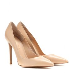 Gianvito Rossi - Leather pumps - Posh nude was made for every season. In smooth leather, Gianvito Rossi's pointed pumps are best teamed with a tailored ensemble. seen @ www.mytheresa.com