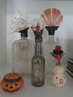Halloween mixed in with my shell bottles