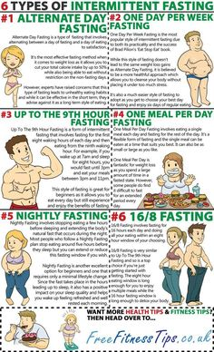 6 Types Of Intermittent Fasting and the details behind each of them .