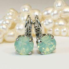 Mint Green Swarovski Earrings Jade Opal Mint Green 8mm by TIMATIBO