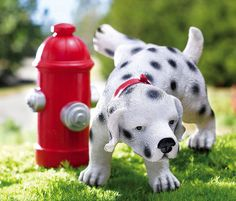 Dalmatian Puppy And Fire Hydrant Garden Sculpture