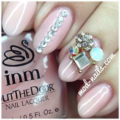 3D rhinestones pink nails
