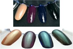 Two Timer from Cult Nails Images from CultNails.com  Two Timer is a sheer top coat that enhances your existing color by casting a beautiful emerald shimmer over it. (Shown over Crusin' Nude, Vicious, Time Traveler and Nevermore.)