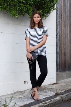 T by Alexander Wang striped tee, COS pants, Proenza heels, Swarovski necklace*, Valentino bag