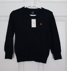 NEW baby Gap Boy's 2 2T Sweater Elbow Patches Navy Blue Gray V Neck Cotton Blend #babyGap #Pullover #DressyEveryday