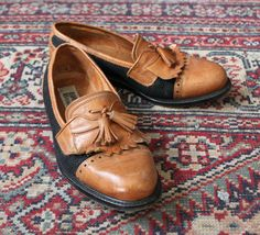 tassel leather and canvas loafers 38 by cheapopulance on Etsy, $55.00