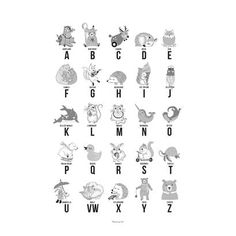 Decorate the child´s room and encourage them to learn the alphabet with the fine and decorative Poster Paper Grey ABC by Bloomingville. – Printed letters with decorative small animals. Alphabet Poster, Animal Alphabet, Learning The Alphabet, Baby Shop, Kids Room, Cute Animals, Prints, Children, Lyrics