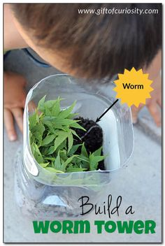 DIY worm tower kids can make - with a bit of adult supervision of course! What a fun way to talk about the important role earthworms play in keeping our soil healthy. || Gift of Curiosity