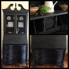 Vintage secretary desk hand painted in Annie Sloan Graphite, sanded & lightly distressed. Clear & black Annie Sloan waxes applied. Doors are updated with new metal screening and new pulls added to drawers. #handpaintedfurniture #custompaintedfurniture #rustic #farmhouse #farmhousestyle #cottagestyle #restore #recycle #revive #country #chalkpaintedfurniture #upcycled #furnituremakeover #furnitureredo #chalkpaint #instahome #home #homeinteriors #furniture #upcycledfurniture #antiques