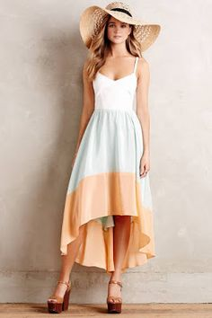 Floppy straw hat, maxi dress, wedges