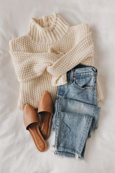 Stay as cozy as can be in the Lulus Scenic Route Cream Knit Turtleneck Sweater while you take in all the autumnal sights! Chunky purl knit shapes this cold-weather essential that features a tur Mode Outfits, Trendy Outfits, Fashion Outfits, Womens Fashion, Fashion Ideas, Fall Winter Outfits, Autumn Winter Fashion, Winter Shoes, Autumn Cozy Outfit
