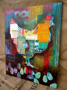 I like the idea of doing a collage, then using a stencil and painting a translucent outline on top. (Kacey Stafford/Found Studio on Flickr)