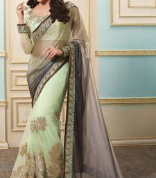 Buy light grey embroidered lycra saree with blouse party-wear-saree online