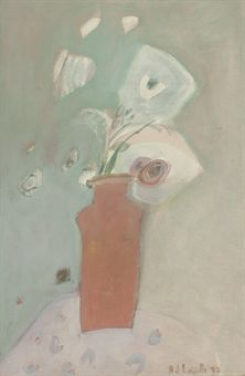 A Joy Laville painting. Still life of a red vase with white flowers , in this case. Oil on canvas.