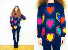 Vtg 80s Oversized Pop Art Heart Print Sweater via Etsy.