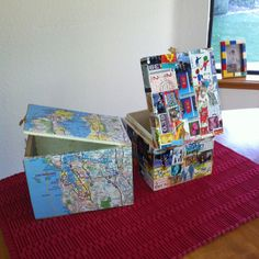 I love these boxes. Decorated with items with meaning, maps of my favorite places and stamps from my favorite places.