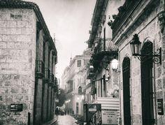 Cuba - Old Havana streets in the rain at dawn.