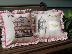Linen Beehive and Birdcage Pillows tute from Flamingo Toes