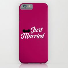just married mickey ears...script font with pink.. phone case, iphone, galaxy.. by studiomarshallgifts on Etsy