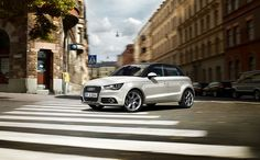 Discover the Audi Sportback at www. Audi A1 White, Roof Dome, Volkswagen Group, Audi A1 Sportback, Audi Cars, Aluminum Wheels, Small Cars, Dream Cars, Attitude