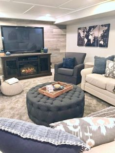 Basement remodeling can add lots of extra living space to your home but beware; basement water leakage could put a real damper on your hopes if not properly corrected. Basement Living Rooms, Small Apartment Living, Basement House, Living Room Furniture, Living Room Decor, Basement Stairs, Basement Ceilings, Basement Furniture, Basement Bathroom