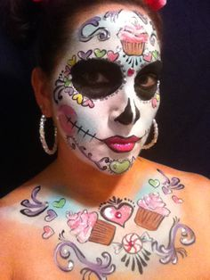 Sweetly awesome! #cupcakes #Day_of_the_Dead #costume #makeup #Halloween