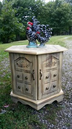 hexagonal end table with storage solid wood slate chalk paint chalk paint solid wood and slate