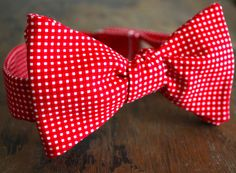 Lord Wallington Handmade Small Red Gingham Bow Tie by LordWallington