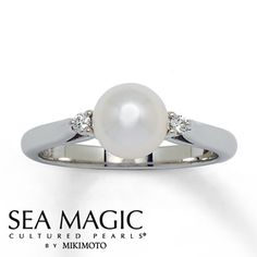From the Sea Magic Cultured Pearls® by Mikimoto collection, this stylish 14K white gold ring features an impressive Akoya cultured pearl as the captivating focal point. A round diamond accents either side. A box and a Certificate of Authenticity are included.