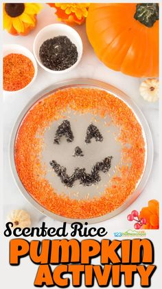 Children will have fun creating a jack-o-lantern this October with this rice sensory play. We are always looking forpumpkin activities that are fun, engaging, and sneak in some learning. Thispumpkin sensory bin is great for sensory play, tactile activity, strengthening fine motor skills and pincer grasp, and more. You can use thispumpkin activity for toddlers,preschoolers, kindergartners, and grade 1 students to create a happy pumpkin ashalloween activities and even trace spelling words or