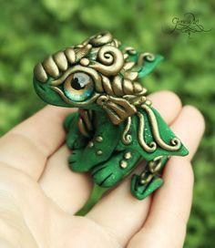 Green baby Dragon - Tiny Dragon Sculpture, Cute Dragon figurine, Ooak dragon, dragon baby, polymer clay dragon, totem animal fimo art - hadmade - polymer clay by GloriosaArt