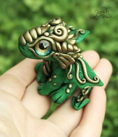 Green baby Dragon - Tiny Dragon Sculpture, Cute Dragon figurine, Ooak dragon, dragon baby, polymer clay dragon, totem animal fimo art - hadmade - polymer clay by GloriosaArt