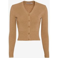 T by Alexander Wang Merino Wool Cardi ($169) ❤ liked on Polyvore featuring tops, cardigans, sweaters, beige top, cardigan top, beige cardigan, long sleeve tops and alexander wang
