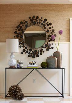 grasscloth wallpaper + mirror