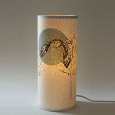 Flying Owl Illustrated Handmade Lamp - so unusual. Gorgeous for a bedroom