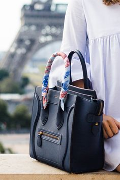 Blue Romper at the Eiffel Tower, a fashion post with a Celine purse and an hermes twilly on Sweetly Sally Style Work, Mode Style, Fashion Bags, Fashion Handbags, Celine Purse, Celine Micro Luggage, Blue Handbags, Prada Handbags, Handbags Online