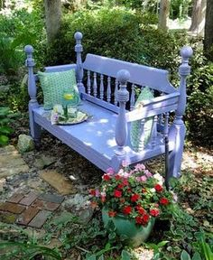 Step-by-step DIY instructions on how to upcycle an old bed frame into a garden bench! Want to do this because I think they're so cool!