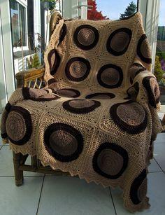 Brown-Circles Crochet Blanket by Wool n Hook, via Flickr