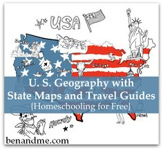 Geography with State Maps and Travel Guides Homeschooling for Free -- U. Geography with State Maps and Travel GuidesHomeschooling for Free -- U. Geography with State Maps and Travel Guides Geography Lessons, Teaching Geography, World Geography, Teaching History, Geography Activities, History Education, Homeschool Curriculum, Homeschooling, My Father's World