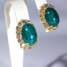 Green Marbled Cab Rhinestone Earrings