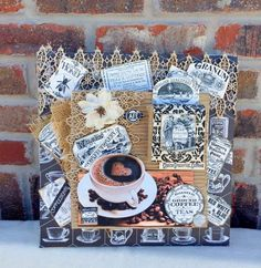 Coffee themed canvas made with Canvas Corp Brands Beans and Bags papers, burlap, and stretched canvases!