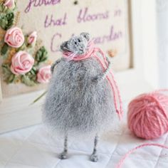 Stuffed Animal Art Toy Knitted Mouse Soft Sculpture Cute Rat