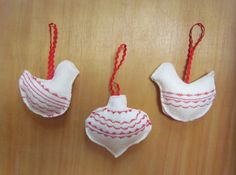 Christmas ornaments with machine stitching decoration