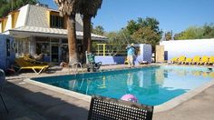 "29 Palms Hotel in the desert near Joshua Tree. For those who are ""camping shy""-- a great alternative and total throw back. Fun! 2.5 hours from LA."