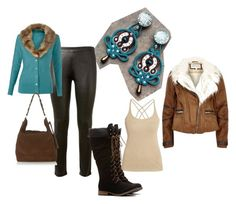 teal winter by galeriamagia on Polyvore featuring moda, Morgan, River Island, Vanessa Bruno and CAbi
