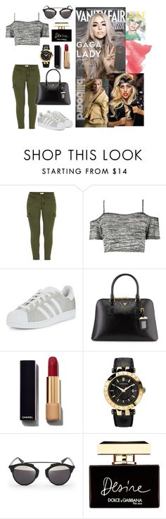 """Lady Gaga"" by mosair9 ❤ liked on Polyvore featuring beauty, Mother, Boohoo, adidas Originals, Prada, Chanel, Versace, Vanity Fair, Christian Dior and Dolce&Gabbana"