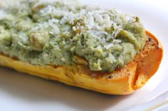 wasabi green and bean stuffed delicata squash.